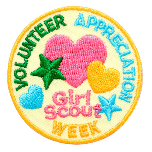 Volunteer Appreciation Week Hearts and Stars Iron-On Patch